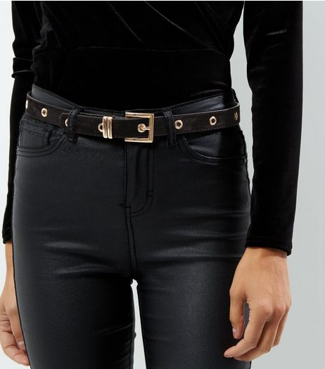 Black Suedette Eyelet Jeans Belt | New Look