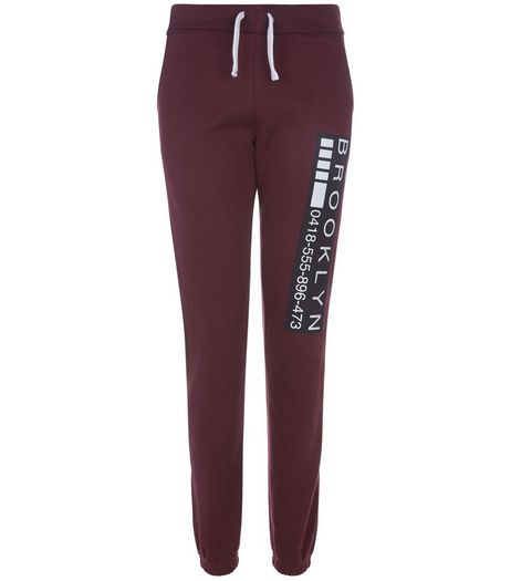 Teens Burgundy Phone Number Print Joggers | New Look