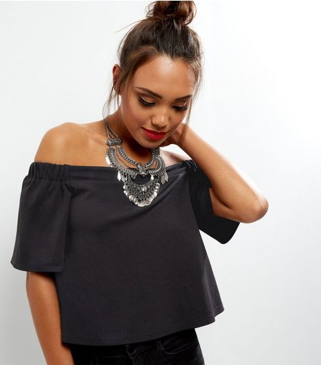 Black Crepe Bardot Neck Top | New Look