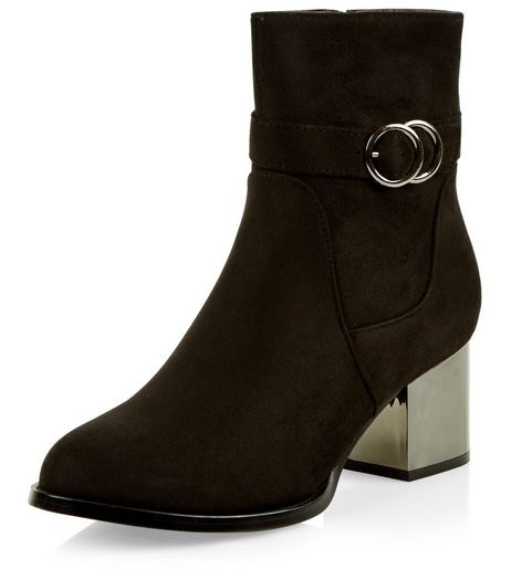 Teens Black Suedette Metallic Heel Ankle Strap Boots | New Look