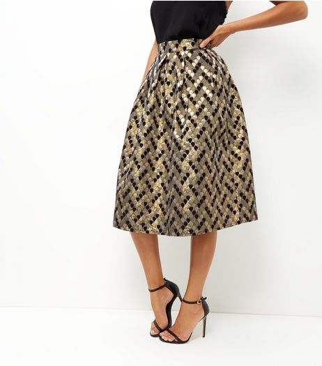 Gold Abstract Print Jacquard Texture Skater Skirt | New Look