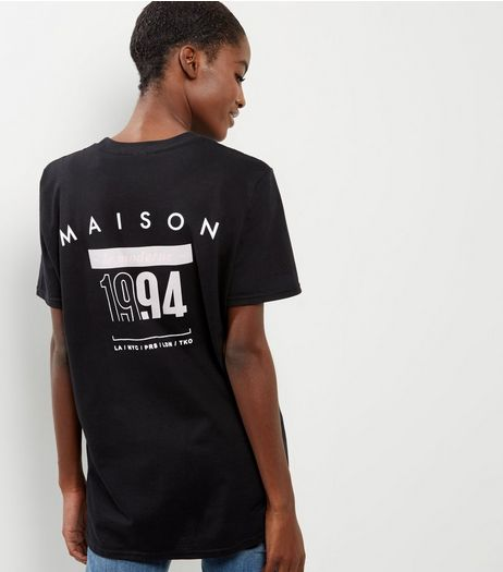 Black 1994 Slogan Print T-Shirt | New Look