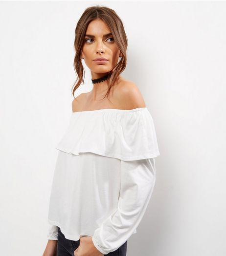 Cream Frill Trim Bardot Neck Long Sleeve Top | New Look