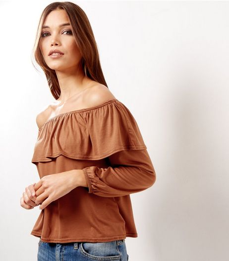 Light Brown Frill Trim Bardot Neck Long Sleeve Top  | New Look