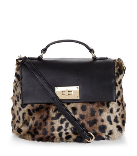Brown Leopard Print Faux Fur Cross Body Bag | New Look