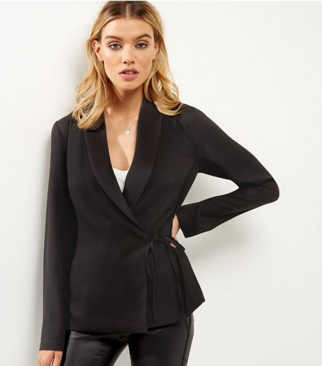 Black Satin Trim Tie Waist Wrap Front Blazer  | New Look