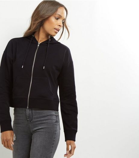 Black Zip Front Cropped Hoodie  | New Look