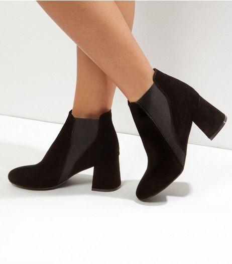 Black Suede Flared Heel Chelsea Boots | New Look