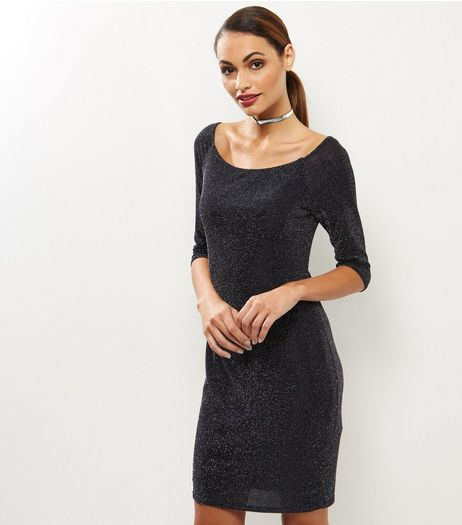 Black Dot Print Bardot Neck Dress | New Look