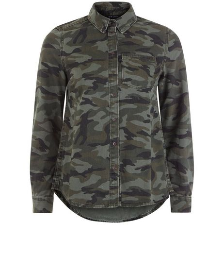 Teens Khaki Camo Shacket | New Look