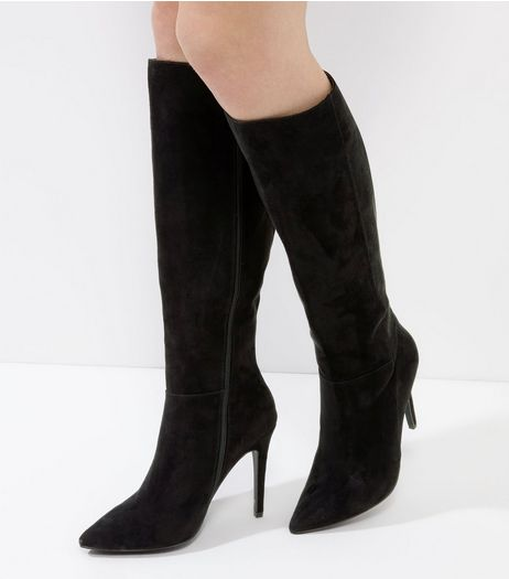 Black Suedette Pointed Knee Hight Boots | New Look