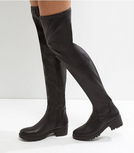 Black Chunky Cleated Sole Over The Knee Boots | New Look