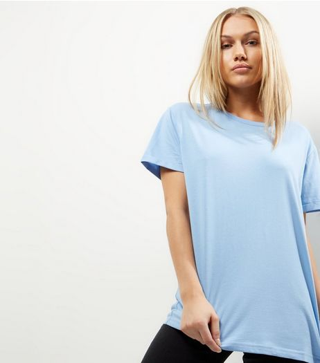 Petite Blue Short Sleeve Boyfriend T-Shirt  | New Look