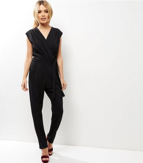 Tall Black Crepe Wrap Front Jumpsuit | New Look