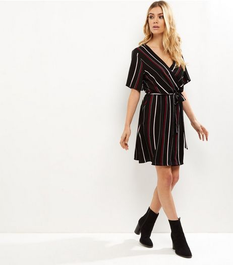 Tall Black Stripe Print Wrap Front Tie Waist Dress | New Look