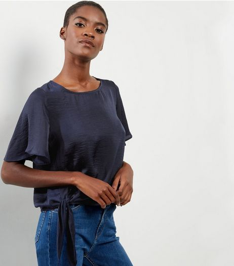 Navy Sateen Frill Sleeve Tie front Top  | New Look