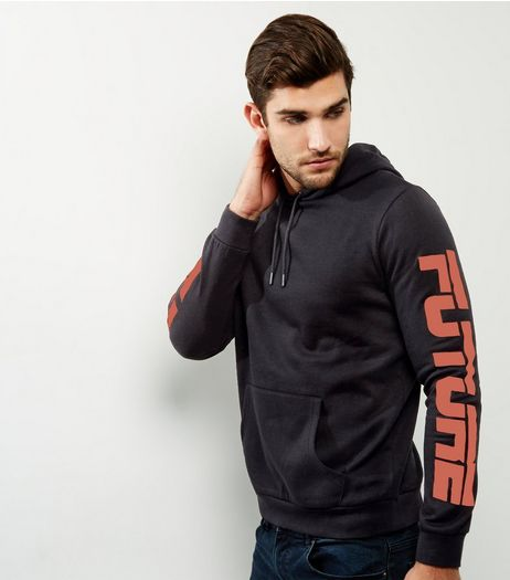 Black Future Print Sleeve Hoodie | New Look