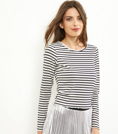 Blue Stripe Long Sleeve T-Shirt  | New Look