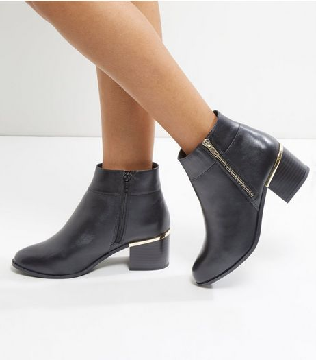 Wide Fit Black Comfort Leather Metal Trim Heel Ankle Boots | New Look