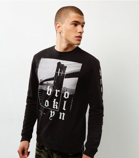 Black Brooklyn Bridge Print Sweater | New Look