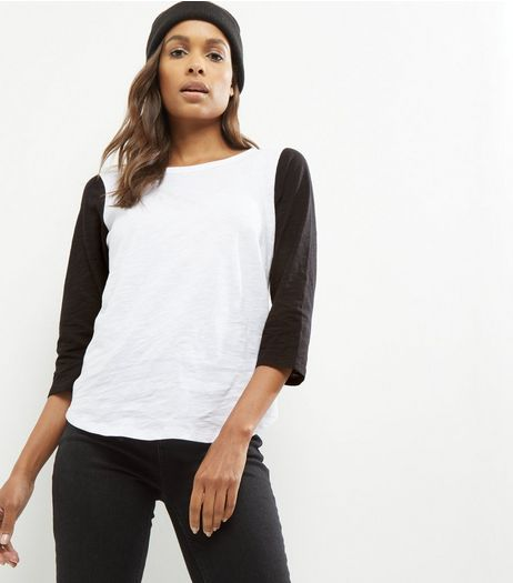 Black Raglan 3/4 Sleeve T-Shirt  | New Look