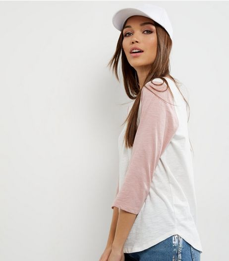 Pink Raglan 3/4 Sleeve T-Shirt  | New Look