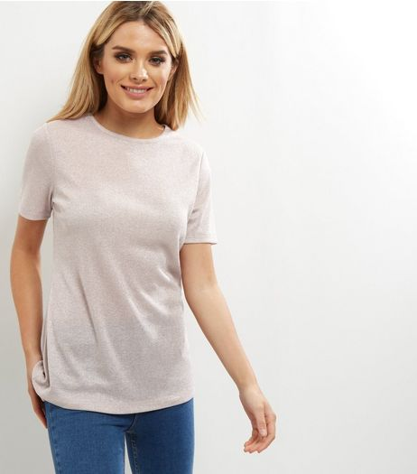 Mid Pink Ribbed Metallic T-Shirt  | New Look