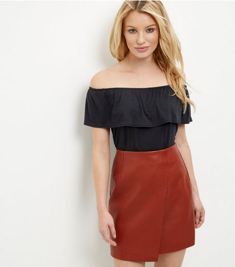 Black Frill Trim Bardot Neck Top  | New Look