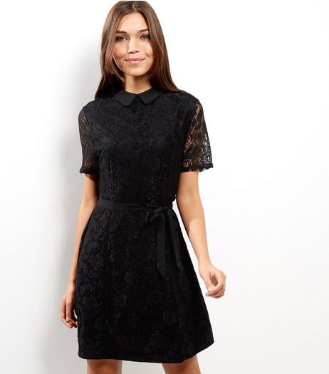 Black Lace Collar Skater Dress | New Look