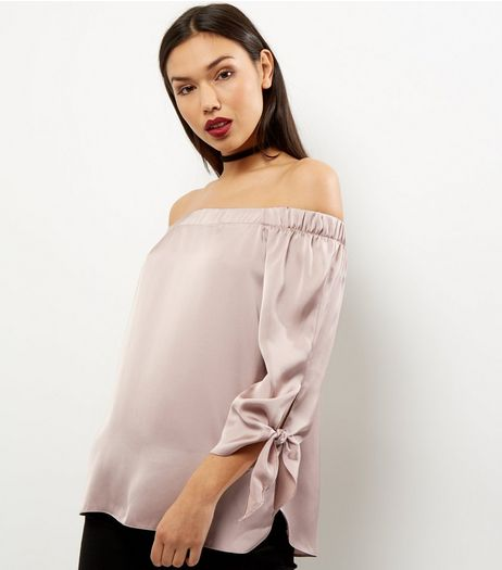 Mid Pink Sateen Tie Sleeve Bardot Top | New Look