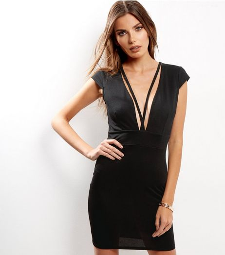 Black V Neck Cross Strap Front Bodycon Dress | New Look