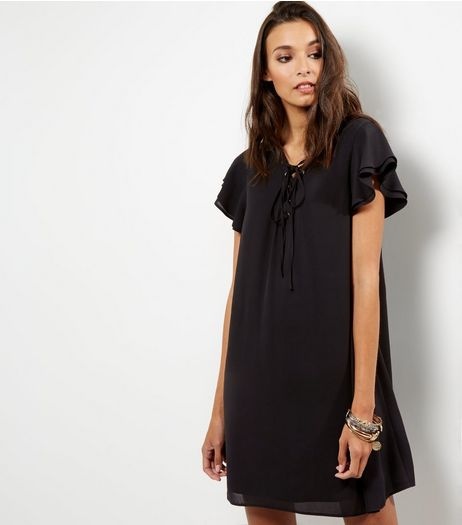 Black Lattice Front Frill Trim Short Sleeve Skater Dress | New Look