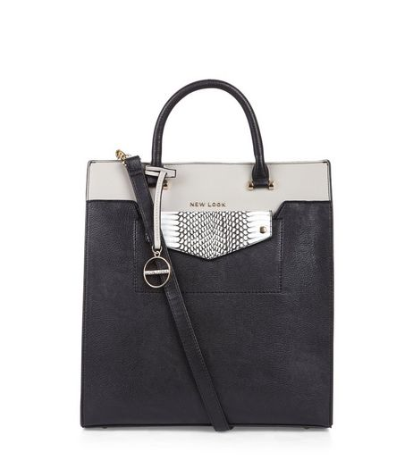 Black Snakeskin Texture Panel Contrast Tote Bag | New Look