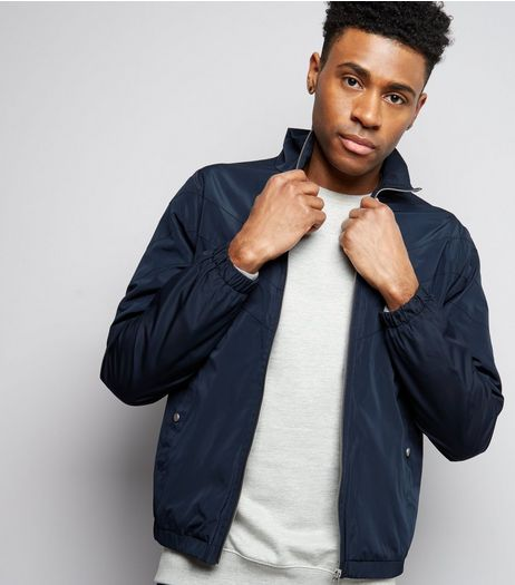 Navy Funnel Neck Track Jacket | New Look