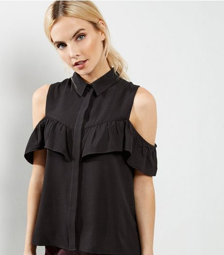 Petite Black Frill Trim Cold Shoulder Shirt | New Look