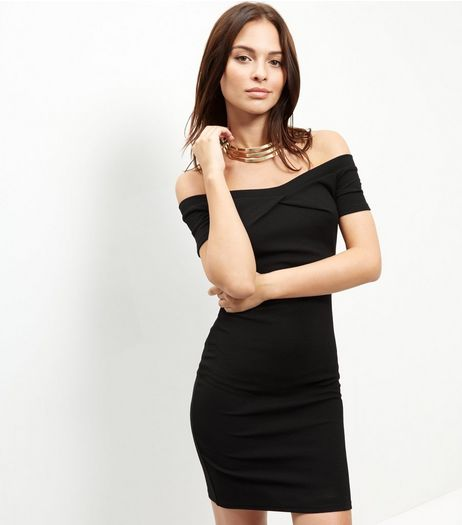 Cameo Rose Black Twist Front Bardot Neck Dress | New Look