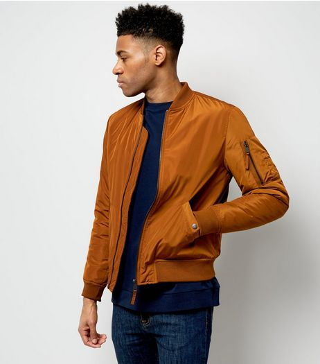 Camel Pocket Sleeve Bomber Jacket  | New Look