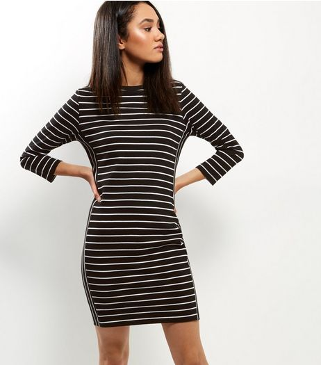 Black Side Stripe 3/4 Sleeve Dress | New Look