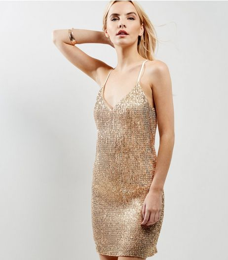 Petite Gold Sequin Mini Dress | New Look