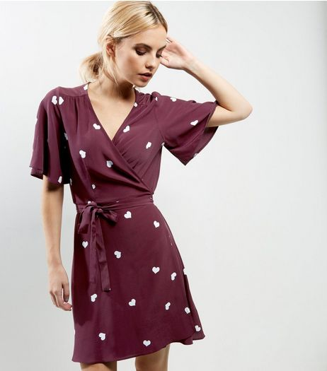 Petite Red Heart Print Wrap Front Dress | New Look
