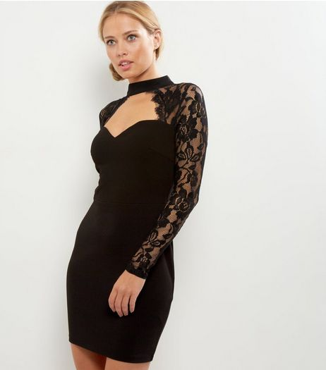 Parisian Black High Neck Lace Sleeve Dress | New Look