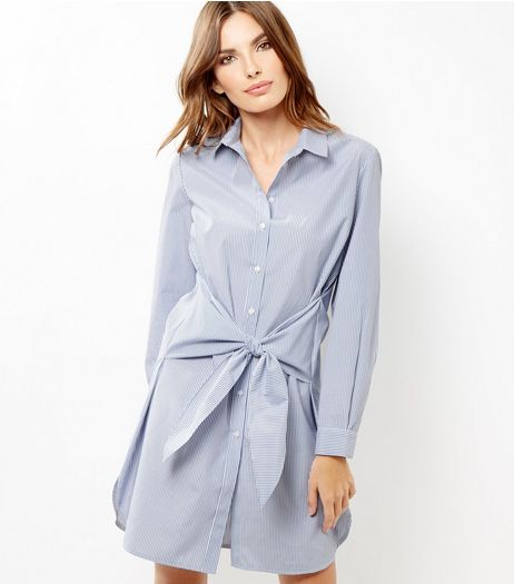White Stripe Tie Waist Shirt Dress | New Look