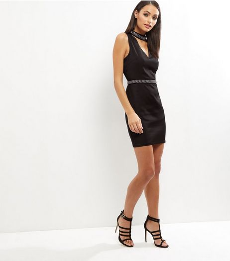 Parisian Black Embellished Choker Neck Bodycon Dress | New Look
