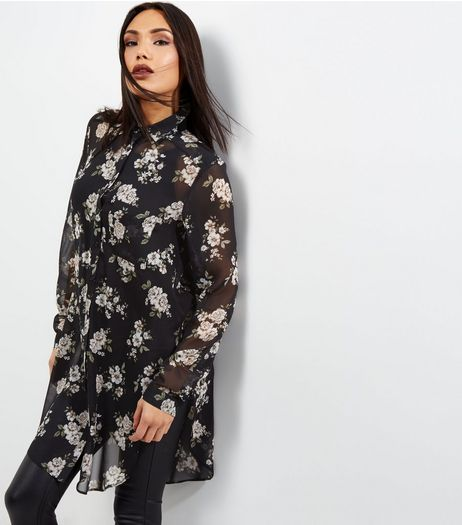 Tall Black Floral Chiffon Longline Shirt | New Look