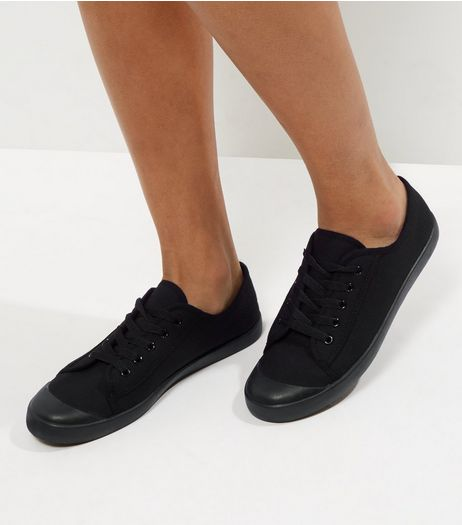 Black Lace Up Trainers | New Look