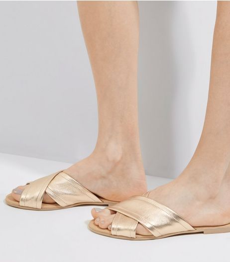 Gold Leather Cross Strap Mules | New Look