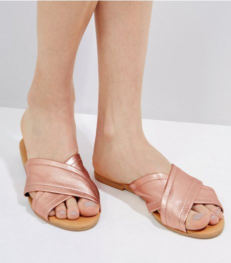 Rose Gold Leather Cross Strap Mules | New Look