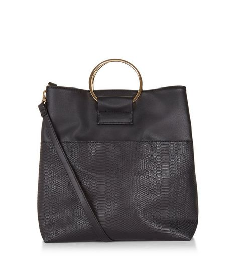 Black Metal Ring Tote Snakeskin Bag | New Look