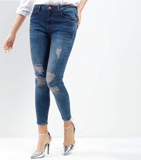 Blue Extreme Ripped Skinny Jenna Jeans | New Look