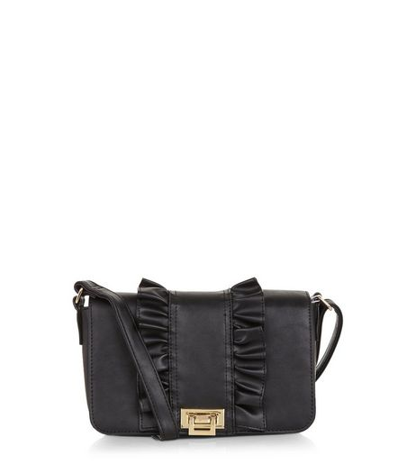 Black Frill Trim Cross Body Bag | New Look